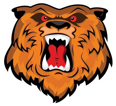 Aggressive and Angry Bear Head Mascot Stock Vector - 15808816