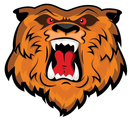 Aggressive and Angry Bear Head Mascot Illustration