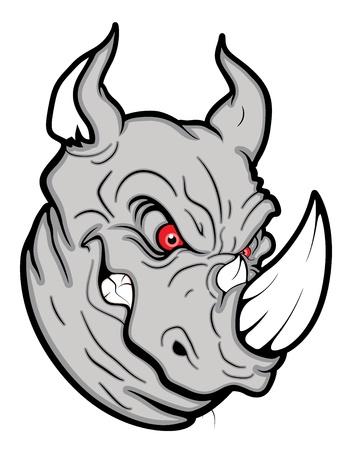 aggressive: Angry Rhinoceros Mascot
