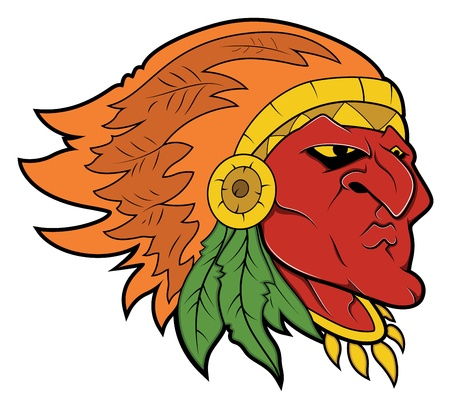 Red Indian Tattoo Vector Vector