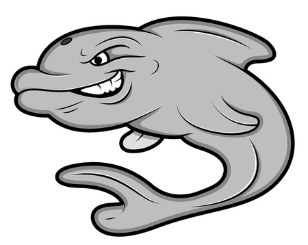 hunter playful: Angry Dolphine Mascot Tattoo