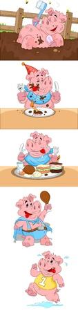 cartoon bathing: Pig Vectors
