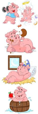 fish farm: Pig Vector Illustrations Illustration