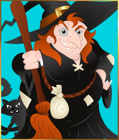 Witch Lady Vector with broom Vector