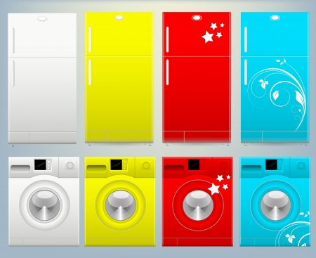 washing machine: Refrigerador Lavadora y Illustartion Vector