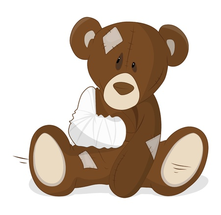 sick teddy bear: Unhealthy Teddy Vector