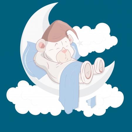 luna caricatura: Teddy Bear dormir en Vector Cartoon Moon