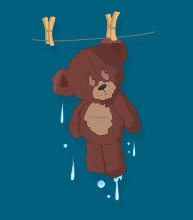 wet bear: Wet Cute Teddy Bear Vector Illustration