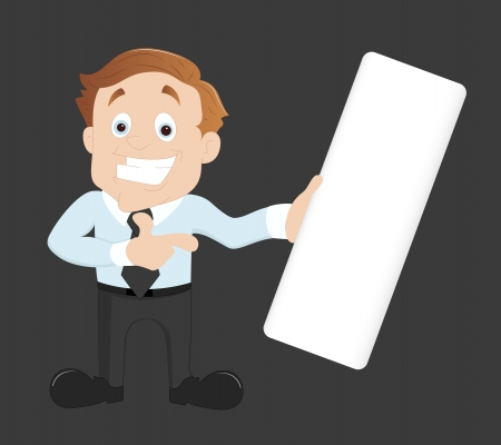 Businessman Indication Toward Blank Banner Vector