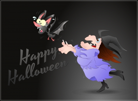 Scared Halloween Witch Vector