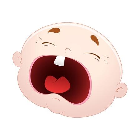 fille pleure: Pleurer Vecteur Baby Face Illustration