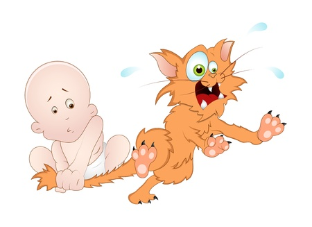 Naughty Baby with Cat - Vector