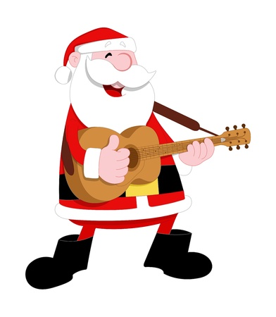 Santa Playing Guitar Vector Vector