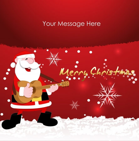 guy playing guitar: Christmas Vector Background Illustration
