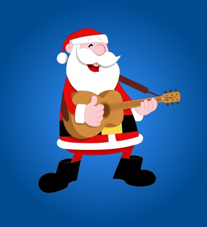 playing the guitar: Cute Santa Vector Illustration