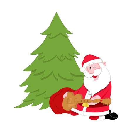 Santa and Christmas Tree Vector Vector