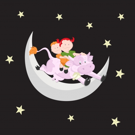 Kids on Moon Vector