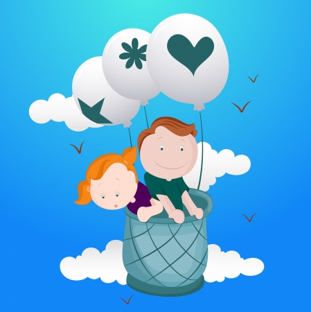 Kids in Hot Air Ballloon Vector Vector