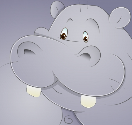 Cartoon Hippo Vector Vector