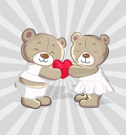 lovers embracing: Cute Bears Vector Cartoon