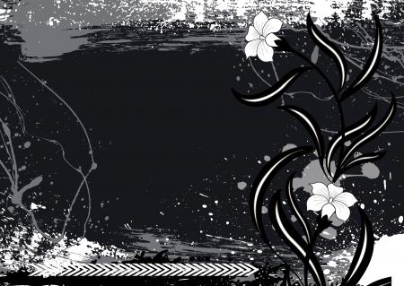 Dark Vintage Floral Background Illustration