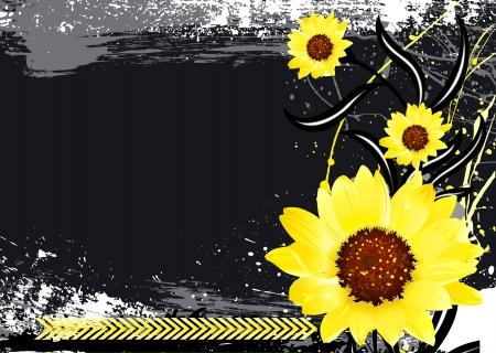 Bright Flowers on Black Dark Background