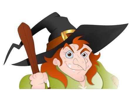 voodoo: Cunning old Witch Vector Illustration Illustration