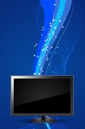 TV Monitor Vector Illustration with a Wavy Background Vector