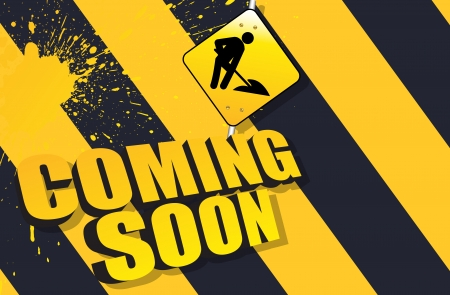 under construction sign with man: Coming Soon Vector Background Illustration