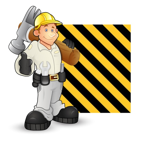 under construction sign with man: Under Construction Character Vectors