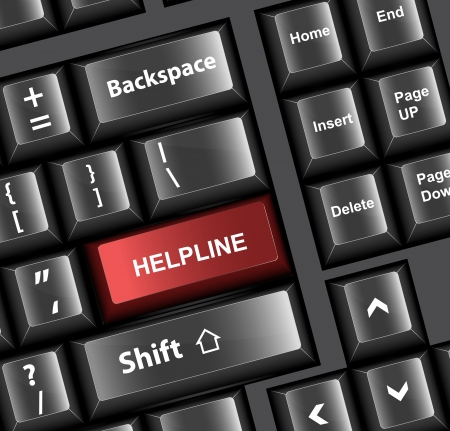 helpline: Keyboard Vector Illustration - Helpline Concept
