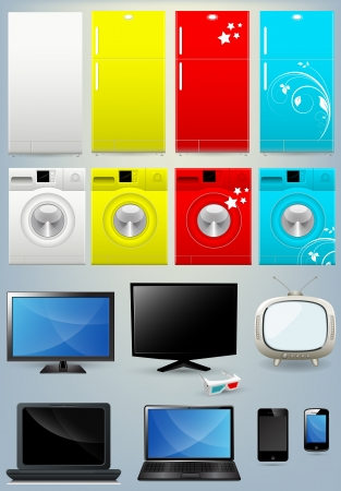 music machine: Fridge Washing Machine TV Mobile Laptop Vectors