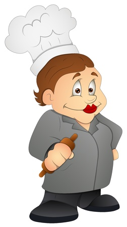 caterer: Kitchen Granny - Cartoon Character - Vector Illustration