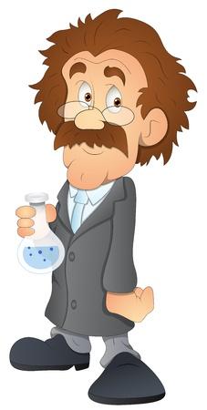 mad man: Scientist - Cartoon Character - Vector Illustration Illustration