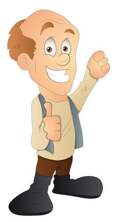 Bald Man - Cartoon Character - Vector Illustration Stock Vector - 16349618