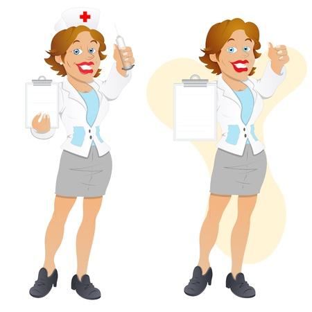 nurse cartoon: Nurse - Cartoon Character - Vector Illustration Illustration