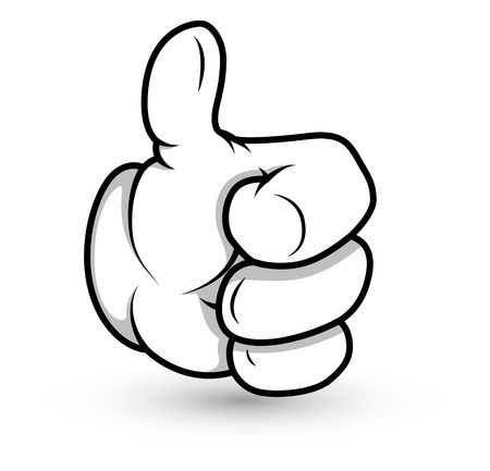 pointing up: Cartoon Hand - Thumbs up- Vector Illustration