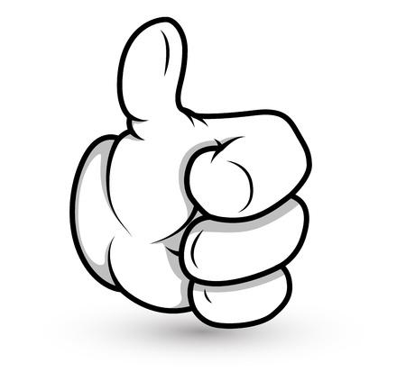 Cartoon Hand - Thumbs up- Vector Illustration