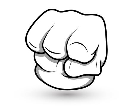 knuckle: Cartoon Punch- Vector Illustration
