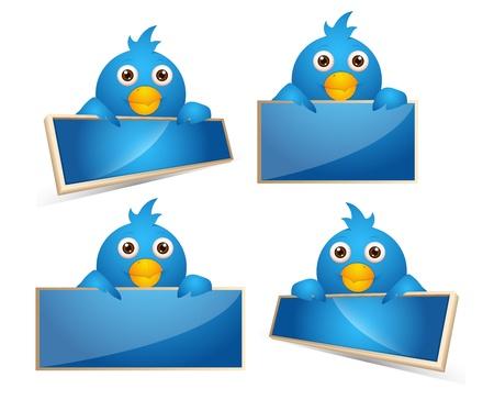 twitter: Cartoon Birds Icons Illustration