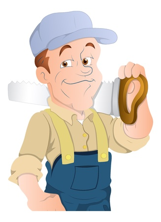 construction worker cartoon: Carpenter Character