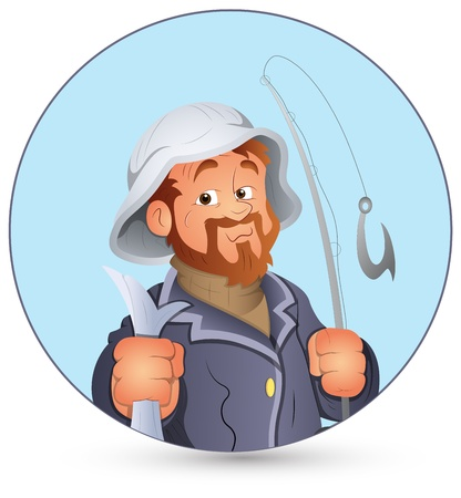 fisher: Retro Fisherman  Illustration