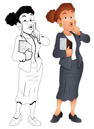 silent: Retro Old Classroom Teacher  Illustration