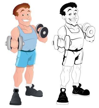 barbell: Retro Happy Male Bodybuider  Illustration