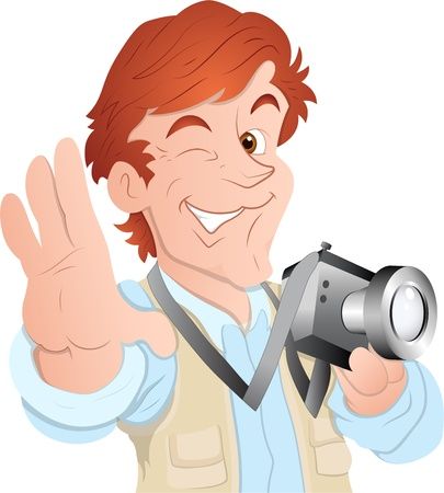 Male Cartoon Photographer Vector