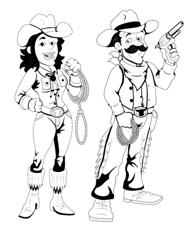 girl gun: Cowboy and Cowgirl -  Character Illustration