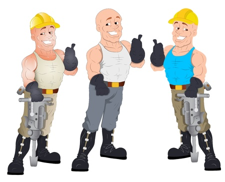 Under Construction Guys -  Character Illustration Stock Vector - 16775669
