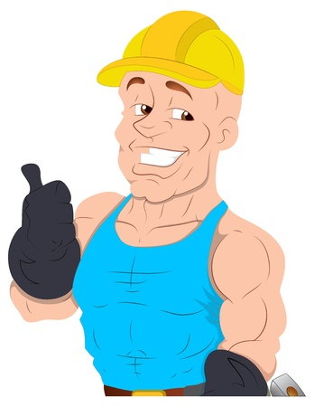 Under Construction Guy -  Character Illustration Stock Vector - 16775530