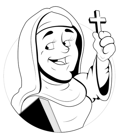 Nun Character  Illustration Vector