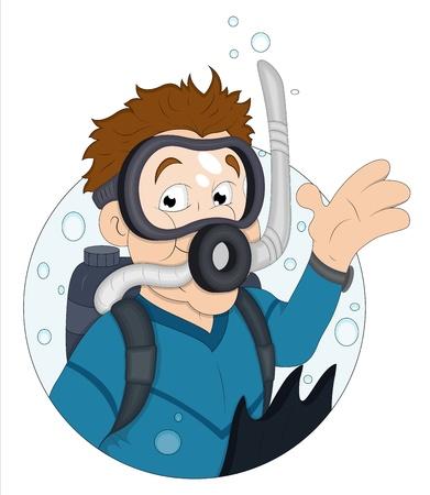 nurkować: Diver Cartoon Ilustracja